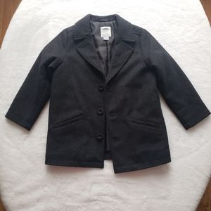 Button Front Dark Grey Boy Peacoat